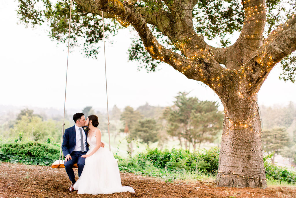 Romantic swing under Hollins House oak tree by DeJoy Photography