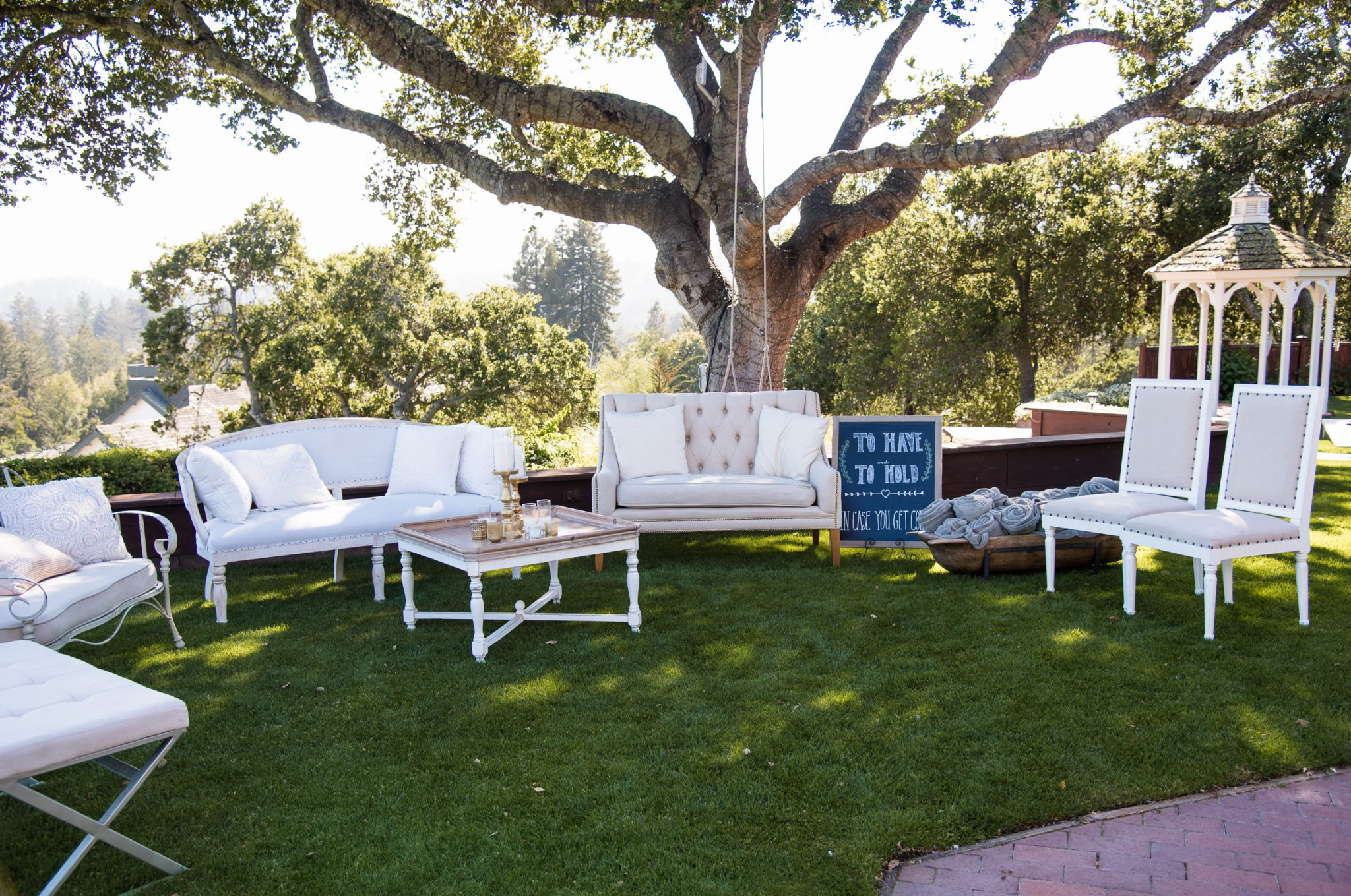 Wedding furniture under hollins house oak tree by Expressive Photographics